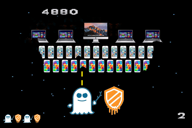 Meltdown and Spectre Vulnerabilities Graphic – Galaga Style